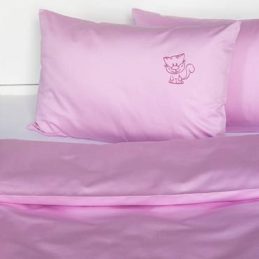 Růžové povlečení do postýlky Kočička